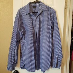 JCrew Mens long sleeve shirt blue and white pinstr